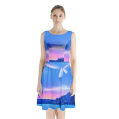 Winter Landscape Snow Forest Trees Sleeveless Chiffon Waist Tie Dress