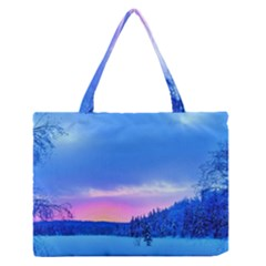 Winter Landscape Snow Forest Trees Medium Zipper Tote Bag