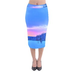 Winter Landscape Snow Forest Trees Velvet Midi Pencil Skirt