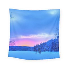Winter Landscape Snow Forest Trees Square Tapestry (small)