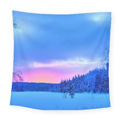 Winter Landscape Snow Forest Trees Square Tapestry (large)