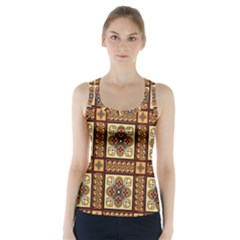 Batik Flower Brown Racer Back Sports Top