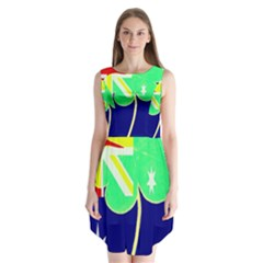 St  Patrick Australia And Ireland Irish Shamrock Australian Country Flag  Sleeveless Chiffon Dress