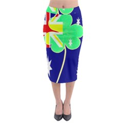 St  Patrick Australia And Ireland Irish Shamrock Australian Country Flag  Midi Pencil Skirt