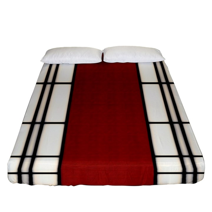 SHOJI - RED Fitted Sheet (Queen Size)