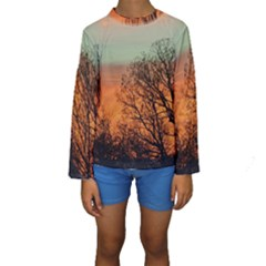 Twilight Sunset Sky Evening Clouds Kids  Long Sleeve Swimwear