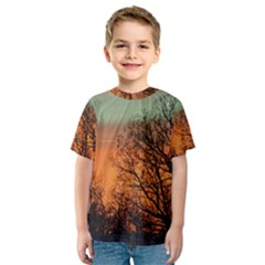 Twilight Sunset Sky Evening Clouds Kids  Sport Mesh Tee