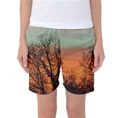 Twilight Sunset Sky Evening Clouds Women s Basketball Shorts