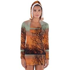 Twilight Sunset Sky Evening Clouds Women s Long Sleeve Hooded T Shirt