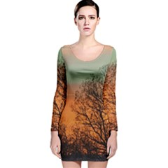 Twilight Sunset Sky Evening Clouds Long Sleeve Velvet Bodycon Dress