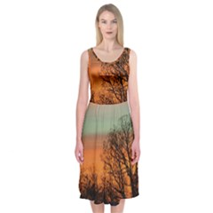 Twilight Sunset Sky Evening Clouds Midi Sleeveless Dress