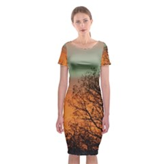 Twilight Sunset Sky Evening Clouds Classic Short Sleeve Midi Dress