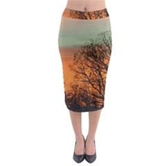 Twilight Sunset Sky Evening Clouds Midi Pencil Skirt