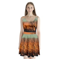 Twilight Sunset Sky Evening Clouds Split Back Mini Dress