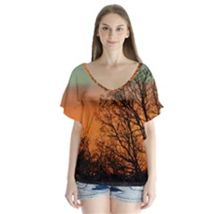 Twilight Sunset Sky Evening Clouds Flutter Sleeve Top