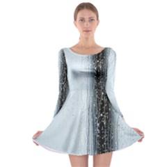 Rain Raindrop Drop Of Water Drip Long Sleeve Skater Dress