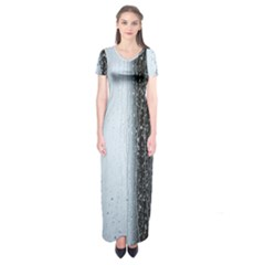 Rain Raindrop Drop Of Water Drip Short Sleeve Maxi Dress