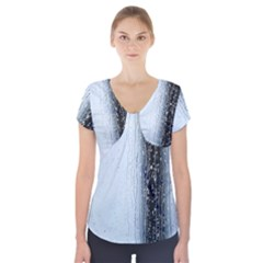 Rain Raindrop Drop Of Water Drip Short Sleeve Front Detail Top