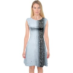 Rain Raindrop Drop Of Water Drip Capsleeve Midi Dress