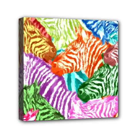 Zebra Colorful Abstract Collage Mini Canvas 6  X 6