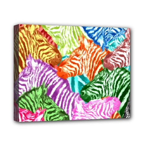Zebra Colorful Abstract Collage Canvas 10  X 8