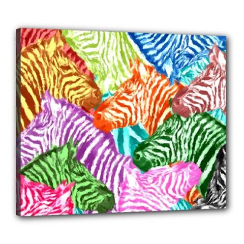 Zebra Colorful Abstract Collage Canvas 24  X 20