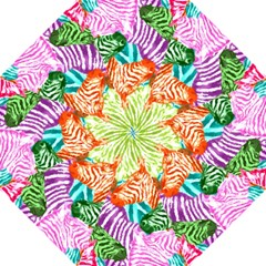 Zebra Colorful Abstract Collage Hook Handle Umbrellas (large)