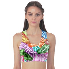 Zebra Colorful Abstract Collage Sports Bra