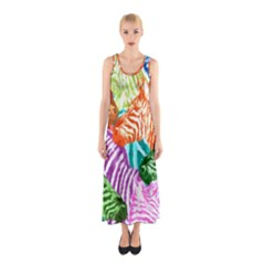 Zebra Colorful Abstract Collage Sleeveless Maxi Dress