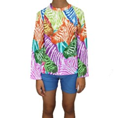 Zebra Colorful Abstract Collage Kids  Long Sleeve Swimwear