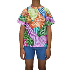 Zebra Colorful Abstract Collage Kids  Short Sleeve Swimwear