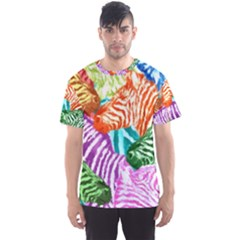 Zebra Colorful Abstract Collage Men s Sport Mesh Tee
