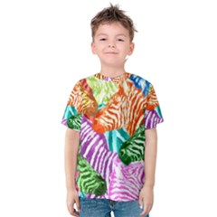 Zebra Colorful Abstract Collage Kids  Cotton Tee