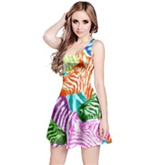 Zebra Colorful Abstract Collage Reversible Sleeveless Dress