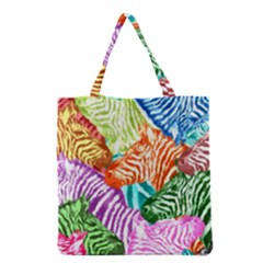 Zebra Colorful Abstract Collage Grocery Tote Bag