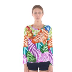 Zebra Colorful Abstract Collage Women s Long Sleeve Tee