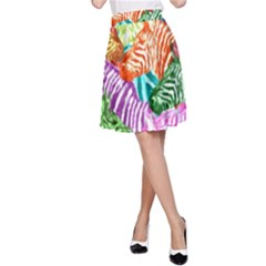 Zebra Colorful Abstract Collage A Line Skirt