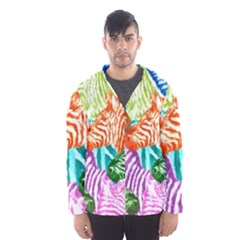 Zebra Colorful Abstract Collage Hooded Wind Breaker (men)