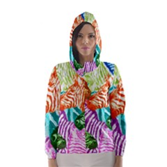 Zebra Colorful Abstract Collage Hooded Wind Breaker (women)