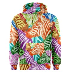 Zebra Colorful Abstract Collage Men s Pullover Hoodie