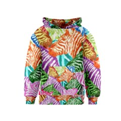 Zebra Colorful Abstract Collage Kids  Pullover Hoodie