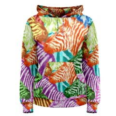 Zebra Colorful Abstract Collage Women s Pullover Hoodie