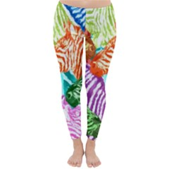 Zebra Colorful Abstract Collage Classic Winter Leggings