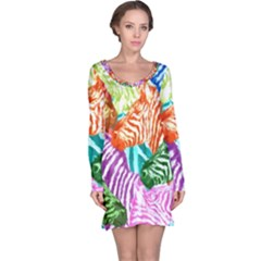 Zebra Colorful Abstract Collage Long Sleeve Nightdress