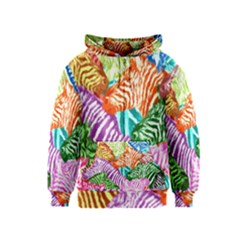 Zebra Colorful Abstract Collage Kids  Zipper Hoodie
