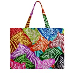 Zebra Colorful Abstract Collage Zipper Mini Tote Bag