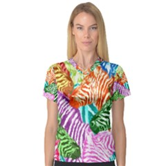 Zebra Colorful Abstract Collage Women s V-Neck Sport Mesh Tee