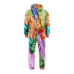 Zebra Colorful Abstract Collage Hooded Jumpsuit (kids)