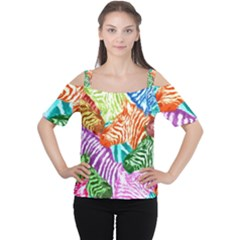 Zebra Colorful Abstract Collage Women s Cutout Shoulder Tee