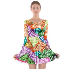Zebra Colorful Abstract Collage Long Sleeve Skater Dress